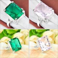green topaz - Mix Color Christmas Holiday Jewelry Gift Pink Topaz Green Quartz Gems Sterling Silver Ring