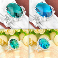 Wholesale Mix Color Holiday Jewelry Gift Oval Blue Topaz Gems Sterling Silver Ring