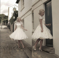 short sleeve wedding gowns - 2014 Vintage Short Wedding Dresses HOUSE OF MOOSHKI Inspired Beach Bridal Gown with Sheer Lace Back A Line Jewel Short Sleeve Wedding Gowns