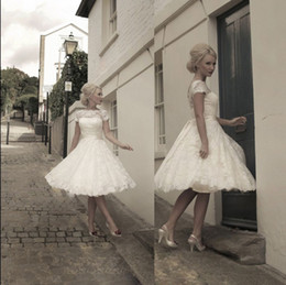 Wholesale 2014 Vintage Short Wedding Dresses HOUSE OF MOOSHKI Inspired Beach Bridal Gown with Sheer Lace Back A Line Jewel Short Sleeve Wedding Gowns