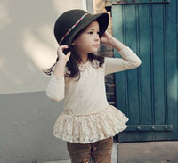 Korean 2014 Autumn Girls Lace Top Tshirts Long Sleeve Slpici...