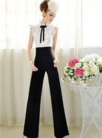 Cheap Fashion Womens Casual Black Slim High Waist Flare Wide Leg Long Pants Palazzo Trousers