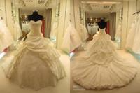 Wholesale Short Taffeta Wedding Dress Sweetheart - 2016 modest luxury soft taffeta lace-up monarch train ball gown wedding dresses custom made free shipping
