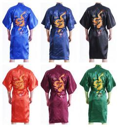 Wholesale Chinese Men s Satin Silk Embroidery Robe Kimono Bath Gown Dragon Size S M L XL XXL XXXL S0103