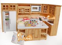 Wholesale Furniture Wood Oak Kitchen Set Fridge Microwave Oven Baking oven for Dollhouse Miniature classic toys