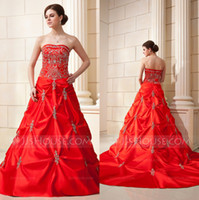 Wholesale 2014 Vintage A Line Wedding Dress Red Strapless Taffeta Crystal Ruffles Draped Beads Sequins Court Train Wedding Bridal Gowns Plus Size