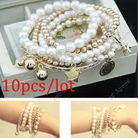 Wholesale 10pcs New Fashion Vintage Eiffel Tower Bead Coin Combination Pendant Bracelet Bangle Silver