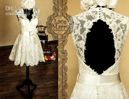modest cheap price short ivory lace v-neck backless bow knee length short wedding dresses custom made high quality free shipping