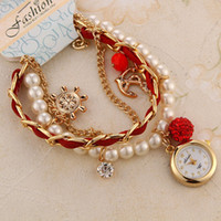 Wholesale 2014 beautiful Bracelet Watch Rudder Anchor Lady Quartz Wristwatches Artificial pearls Women Rhinestone Watches New Promotions