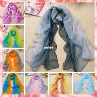 fabric silk georgette - 2014 Winter Scarf Chiffon Imitated Silk Fabric Print Scarf Women Shawl Scarves Gradual Colors Georgette Female RL