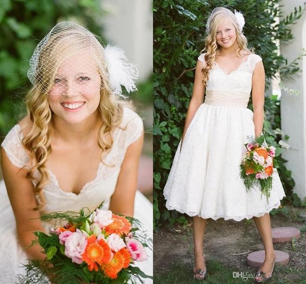 Buy 2015 Custom Fashion Cap Sleeve Lace Backless Vintage Designer Cheap Wedding Bridal Dresses Gowns Tea Length