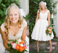designer wedding dresses - 2015 Custom Fashion Cap Sleeve With Lace Backless Vintage Designer Cheap Wedding Bridal Dresses Gowns Tea Length Backless