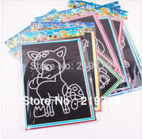Wholesale 19 cm Large size scratch picture cards Scraping Painting Set Children s drawing toys educational toy