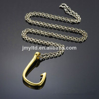Wholesale Unique style stainlesss steel Factory price Halloween grace gold fish hook pendant necklace for handsome boy