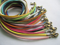 Wholesale 100pcs Man Made Assorted Leather Korea Velvet Necklace Cords Small Finish End With Antique Bronze Clasp Jewelry DIY Mixed Colors