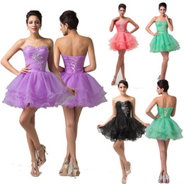 Wholesale Hot Sales Mini Short Ruffles Voile Cocktail Dresses Strapless Beaded Ball Gown Prom Sizes US2 US16 CL6077