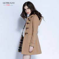 Wholesale Thousands of Australia fall and winter clothes new Korean Women Large yard hooded wool coat Slim was thin woolen coat