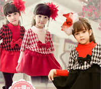 Wholesale 2014 Autumn Children Dress Classic Houndstooth Girl Prncess Dresses Bead Bowknot Woolen Cloth Kids Clothing Colour In Stock WD174