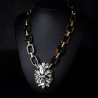 big leopard necklaces - N469 hot new big necklaces pendants crystal statement Leopard grain jewelry for women party jc choker accessories