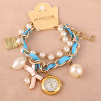 Wholesale HOT Sell Bracelet Watch For Women Dress Watches Rose Gold Fashion Quartz Watches Pearl Handmade Bowknot Watches