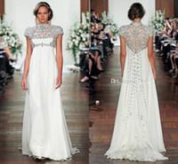 Модест Дженни Пэкхэм Свадебные платья высокая шея Cap рукавом бисер империи талии линии из бисера на заказ Свадебные платья для беременных
