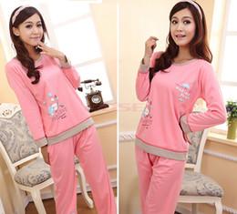 Wholesale Pure Cotton Ladies Cute Cartoon Balloon Pattern Sleepwear Pajamas Women s Long Sleeve Pajama Sets Nightwear Sleep Night Wear