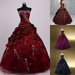 Wholesale Cheap Real Image Strapless Burgundy Navy Blue Purple Quinceanera Dresses Embroidery Beads Draped Girl Prom Pageant Gowns