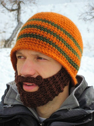 Wholesale Handmade Knitted Crochet Beard Hat balaclava Winter Men Warm New Fashion Bicycle Mask Ski Cap Roman knight Octopus Cool Funny Beanies