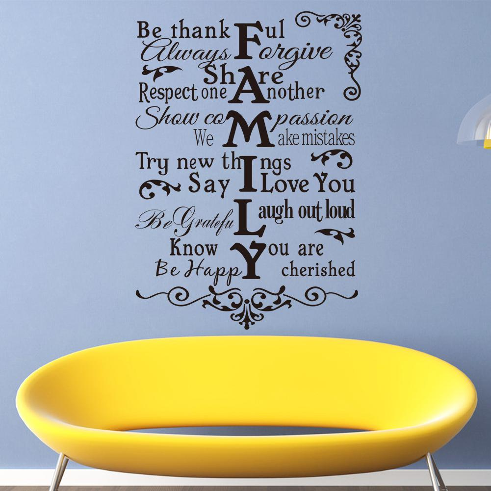 Vinyl Wall Art Stickers Large FAMILY RULES Wall Decals For Living - Yellow wall decals