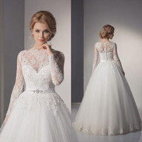 Wholesale 2014 Wedding Dresses Sheer Jewelry Neck Long Sleeves Luxurious Lace Rhinestones Crystals Floor Length A line Bridal Gowns Custom made WEI
