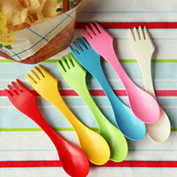 Wholesale New Arrival Practical Creative Fork Spoon Outdoor Tableware Portable Tableware Colors Drop Shipping HG