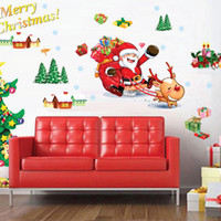 Cheap AY767 Free Shipping new arrival wall sticker great for kid's room decorate Free shipping,Christmas tree and Santa Claus