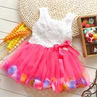 al por mayor vestidos de tutú de colores-Ropa de los bebés Princesa niñas flor vestido 3D rosa flor niña tutu vestido con coloridos pétalos de encaje vestido Bubble falda ropa de bebé