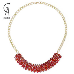 Wholesale Strand Necklace Alloy Chains And Acrylic Clear Beads Pendants Sweater Chain Red Blue And Black Color For Women