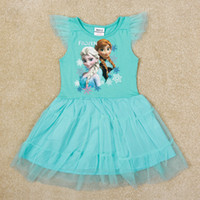 Wholesale nova fashion girls frozen elsa anna dresses girl lace dress summer short dresses sleeveless clothing kids factory H5341Y