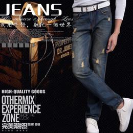 Wholesale Men Winter leisure straight hole denim pants slim jeans size