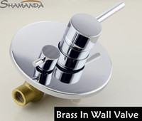 Wholesale Bathroom In Wall Faucet Bath and Shower Mixer Solid Brass Chrome Covert Two Function Actuated In Wall Valve