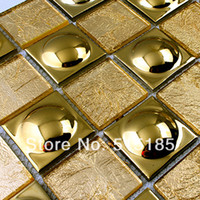 Wholesale Glass gold ceramic tile mosaic art wall pattern decorative floor tile