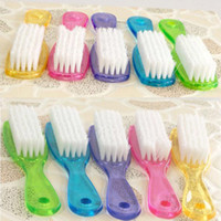 Wholesale Color Random Plastic Crystal Handle White Nylon Yarn Cleaning Brush Household Cleaning Tools Accessories HG