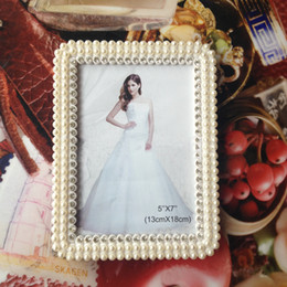 Wholesale 7inches ABS rectangle wedding photo frame with pearls and rhinestone decoration