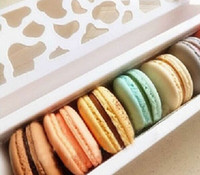 Wholesale Luxury White Long Hollow Macaron Box Cupcake Container Valentine Chocolates Packing Box Baking Package