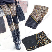 Cheap Women's Sexy Imitation Leather Patchwork Zipper Leopard Print Leggings Thin Stretch Tights Skinny Pants 10033#
