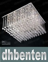 Cheap Free shipping Modern Square Silver K9 Crystal Chandelier Restaurant Hotel Living Room Ceiling Lamp Length 80cm*width 80cm WZH646