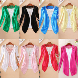 Wholesale New Hot Fashion Women Cardigan Sale Lace Sweet Candy Pure Color Slim Crochet Knit Blouse Sweater Cardigan
