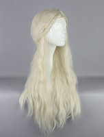 Wholesale Long Wavy Blonde Wig with braid Anime Cosplay wig Synthetic Hair wigs New Movie Game of Thrones Daenerys Targaryen Jon Snow Cersei Lannister