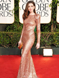 Wholesale Blining Anne Hathaway Sequins Evening Dresses With Long Sleeve And Crew Sheath Prom Formal Party Ball Celebrity Red carpet Custom Made