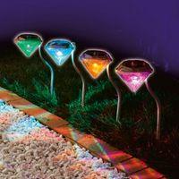 Cheap 4pcs lot 2014 New Solar powered Panel LED Spot Lighting Landscape Outdoor Garden Path Lawn Lamp Diamond Decoration Garden Yard Lights
