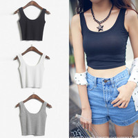 women crop tops - 2014 WOMEN S Ladies SCOOP NECK CROPPED BELLY TOP SLEEVELESS FITTED TEE STRETCHY Tanks