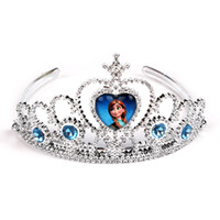 Wholesale Fedex Free New Best Price Frozen Anna Elsa Tiara Crown Hair Band Sparking Crystal Cubic Zirconia Paved For Children Girl Mix Models CW0287