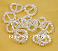 Wholesale X white Pearl Heart Shaped Buckle Slider Ribbon Bar Wedding Decoration